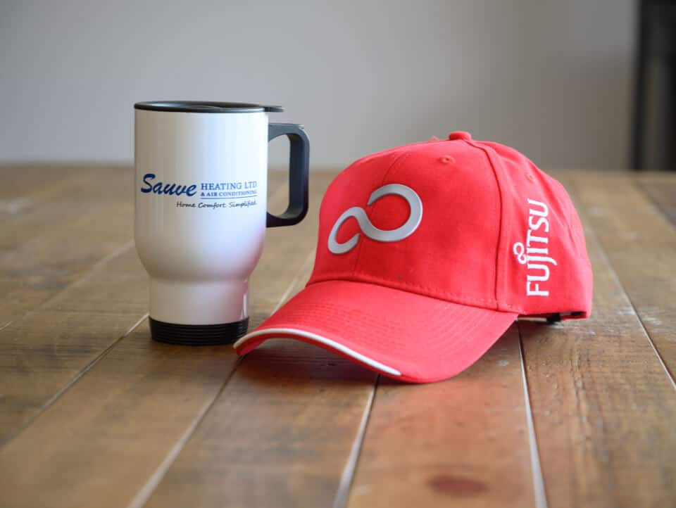 Sauve travel mug and Fujitsu baseball cap