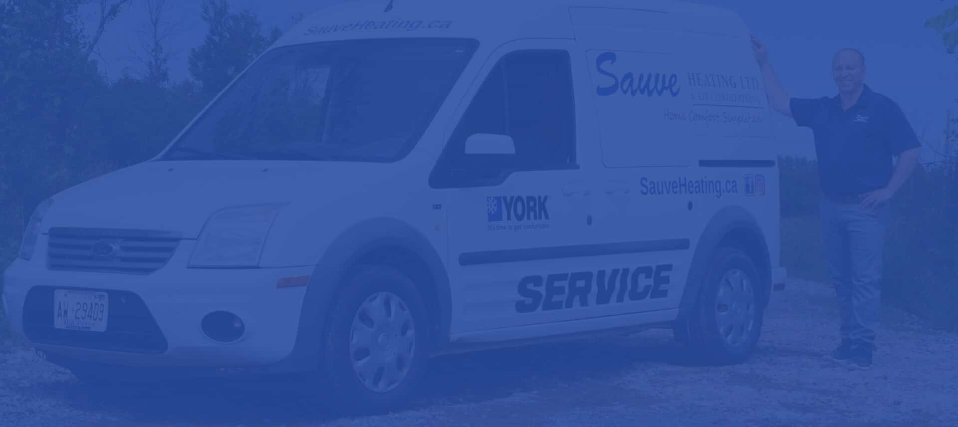 Ben Sauve of Sauve Heating and AC with a service truck in Ottawa